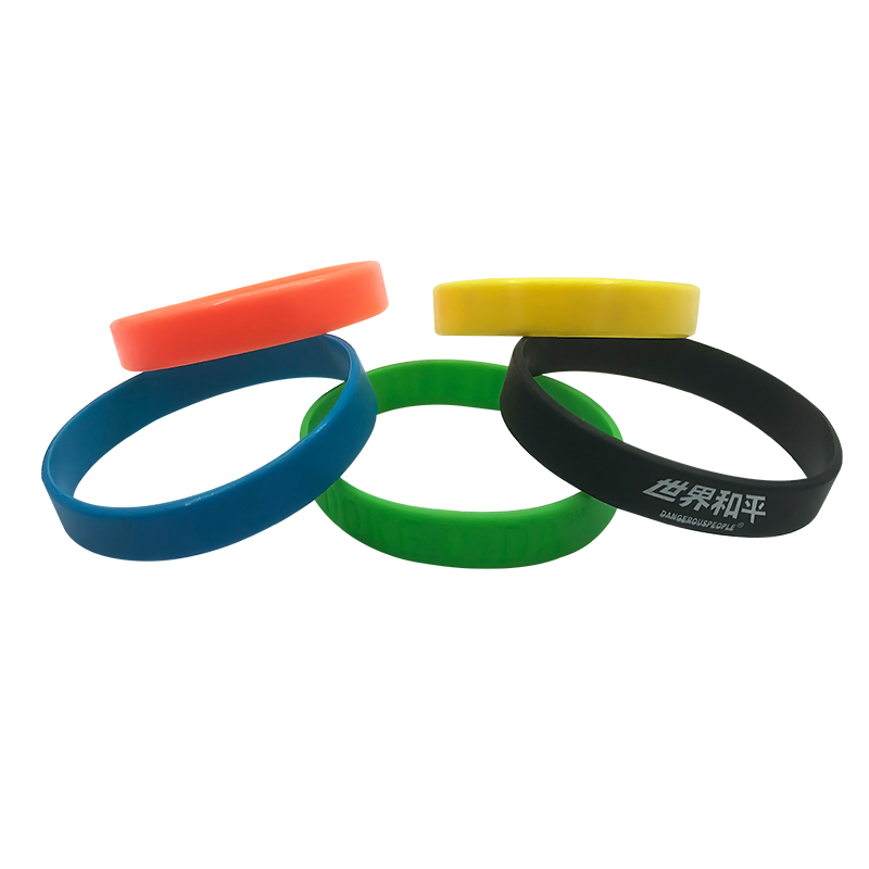 cheap colorful eco-friendly food grade silicone rubber bands bracelet